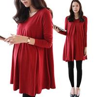 100% Cotton Super Large Loose Maternity Dress/Vestido/Tops Pregnant Clothes Pregnancy Women'sWear 2014 New Fashion Spring&Autumn