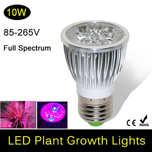 Full spectrum LED Grow lights 10W E27 LED Grow lamp bulb for Flower plant Hydroponics system AC 85V 110V 265V grow box 1Pcs/lots(China (Mainland))
