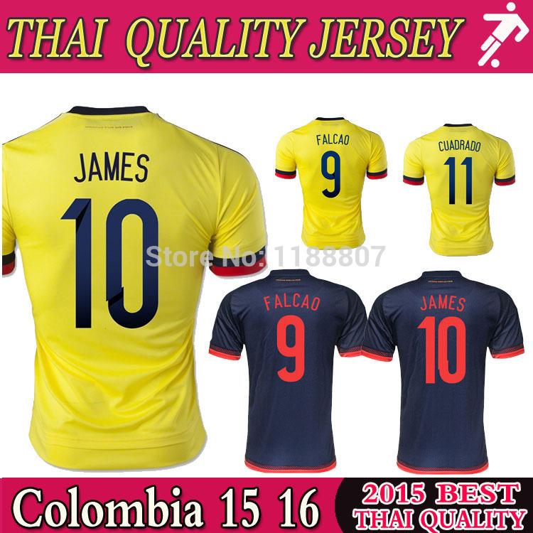 Best thai quality 2015 Colombia soccer jersey 15 16 home away FALCAO JAMES ESCOBAR uniforms soccer jerseys football shirt(China (Mainland))