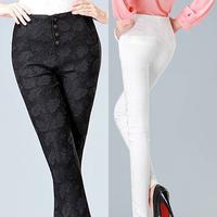 High Waistline Lace Embroidered Milk Silk Black White Skinny Slim Elasticity Leggings Trousers Long Female Pants Women clothing