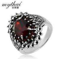 925 pure silver thai silver jewelry vintage red zircon gem wedding ring female