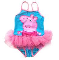 New 2014 Peppa Pig Print Sweet Girl Swim Suit Children Swimwear For 2-6 Years Girls In Stock Freeshipping