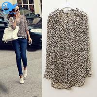 Free Drop Shipping Spring 2014 New Women Clothing Loose Leopard Pattern Shirt Ladies Casual Shirt Chiffon Half Sleeve Blouse
