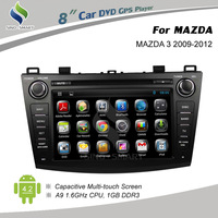 Free shipping Android 4.2 car DVD GPS for MAZDA 3 2009-2012 capacitive touch screen 1.6GHz CPU 8 FCC,FDA,CE,ROHS