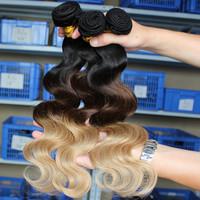 SunnyQueen Hair Products Body Wave Peruvian Virgin Hair Human Hair Weaves 3pcs lot Ombre Hair Extensions three tone 1b/#4/#27