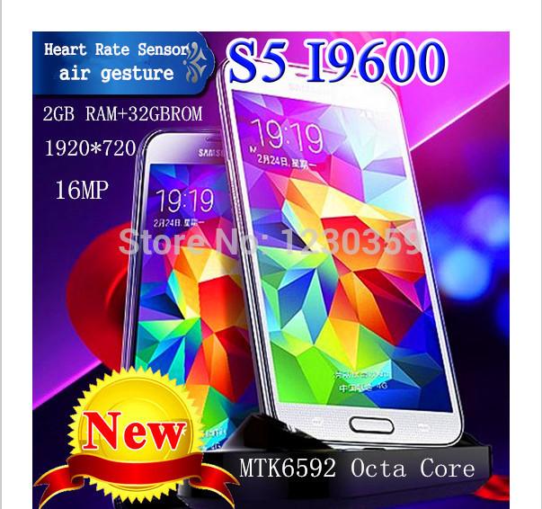 Original galaxy s5 i9600 teléfono teléfono 5.1 pulgadas teléfono móvil s5 i9600 teléfono de cuádruple núcleo/octa núcleo 2g ram 16mp cámara libre de dhl
