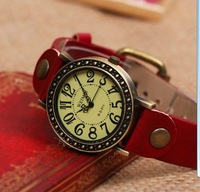 Fashion high quality Cow Leather Strap Casual man's women's Dress Watches lover's wristwatches