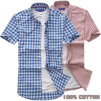 2014 free shipping 100% cotton Man Hot Sale brand summer short-sleeve Plaid Shirts Slim Male Fashion Casual shirt Men's shirts