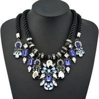 2014 New Fashion Gorgeous Brand Necklaces & Pendants luxury crystal flower Chunky statement choker necklace for women
