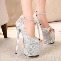 women pumps 19cm ultra high heels platform crystal women's open toe shoes sexy single shoes fashion women platform sandal 6678 @