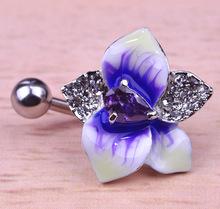 Enamel Esmalte Violetta Flowers Piercing Navel Belly Button Rings Rasta Rod Plug Sex Body Jewelry Percing Mix Lot Bulk Wholesale