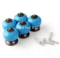 10PCS 30mm Dragon Ball Ceramic Handle Pull Knobs Cabinet Door Cupboard Drawer Locker Vintage Retro Gold Color Blue