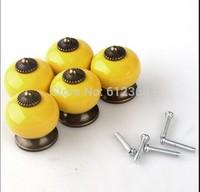 10PCS 30mm Dragon Ball Ceramic Handle Pull Knobs Cabinet Door Cupboard Drawer Locker Vintage Retro Gold Color Yellow