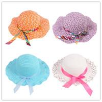 Hotselling Kids Girls Baby Lace Node Brim Summer Beach Sun Straw Hat Cap Princess basin caps Children Sun caps EJ670941