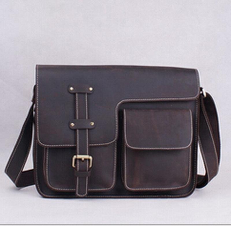 100% genuine leather men bag 13 inch Crazy Horse Leather men messenger bags vintage Laptop briefcase handbag men's bags NEW 2015(China (Mainland))