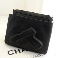2014 new fashion  women's handbag personalized pistol double layer print bag vintage day clutch messenger bag 2 styles
