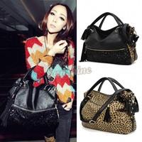 High Quality!Fashion Leopard Printed Bags One Shoulder Handbag Women's Handbag Leather Messenger Bag b4 SV001570