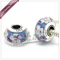 2pcs S925 Sterling Silver Blue pink yellow Murano Glass Beads Fit European pandora Charm Bracelets & Necklaces Pendant ZS058