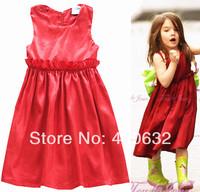 Baby girl dress Suri emulation silk red pleated round collar sleeveless vest dress children clothing age 2-10A star love hot