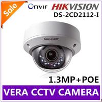 IR NightVision Security Surveillance HIKVISION IP Camera ONVIF 720P 1.3Megapixel Camera DS-2CD2112-I POE Free Shipping