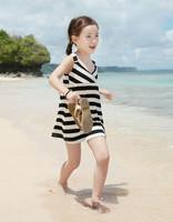 Wholesale(5pcs/lot)- summer preppy style stripe spaghetti strap child one-piece dress