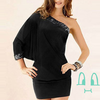 New 2014 Summer Women Clothing Sexy Clubwear One Shoulder Batwing Bodycon Dress, Black, Size Free