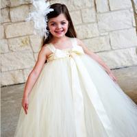 2014 New Flower Girl Party Dresses Flower Girl TuTu Dress Ivory Vintage Lace bow Girl Wedding Dresses  Custom Size