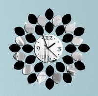 Min order 15 usd ( Mix items ) big leaf black and silver wall clock modern design luxury mirror wall clock,3d crystal