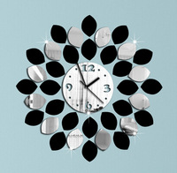 Min order 15 usd ( Mix items ) big leaf black and silver wall clock modern design luxury mirror wall clock,3d crystal