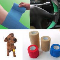 2pcs/lot 5.0cmx4.5m Colorful Elastic Pet Bandage, Vet Cohesive Bandage,Dog,Cat,Horse Bandage Free Shipping HO670853