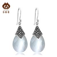 925 pure silver earrings thai silver jewelry fashion vintage white - eye drop long earrings design