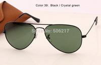 100% UV protection fashion men / women AVIATOR sunglasses 3025 pilot glasses L2823 black w/ green glasses lenses 58mm in case