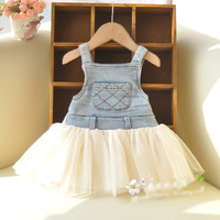 2014 new spring summer children cowboy lace splice vest dress princess party girl dresses mini girl
