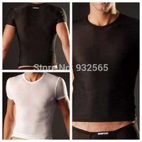 German brand MANSTORE Sexy Men T shirt men short sleeve O-Neck T shirt  Men's Tops Casual Tees Slim Super Slip