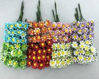 2014 NEW 1.5cm (120pcs/lot) head 4 colors Mulberry Daisy Paper Flower  Bouquet/wire stem/ Scrapbooking artificial flowers