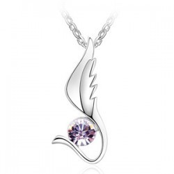 Fashion 18K white gold plated austrian crystal women Lucky Angel phoenix necklaces & pendants(China (Mainland))
