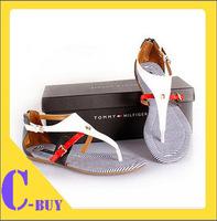Free Shipping 2014  cowhide flip back zipper color block decoration genuine leather flat sandals stripe sandals