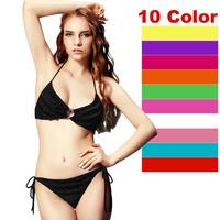Bathing Suit Bikini Sets Women's Swimwear Swimsuit Beachwear Triangle Top Solid Sexy Lady 1set/lot