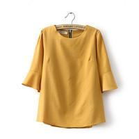 YG302-1 european and America street style womens blouses trumpet sleeves round neck chiffon shirt back zipper freeshipping