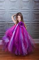2T-8Y Shades Of Purple Tutu Dress Girl Flower Dress Princess Baby Girl Party Dress For Birthday Photo Wedding Festival 013MIX032