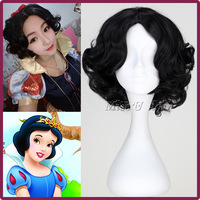 Halloween Snow white princess cosplay costume wig for women short black curly wigs free shipping