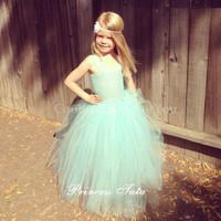Frozen Mint Green Girl Party Dress Girl Flower Tutu Dress Toddler Baby Tutu Dress For Wedding Birthday Handmade Customize