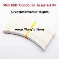 0805 SMD Ceramic Capacitor Assorted Kit 1pF~10uF 50values*25pcs=1250pcs Chip Ceramic Capacitor Samples kit
