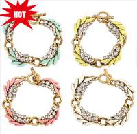 Vintage Garland Bracelet Full Rhinestone Leaf Pattern Bracelet 2014 New Fashion Statement Bracelet & Bangle BJB905942