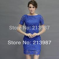2014 New fashion white and blue women lace dress high quality slash neck short sleeve plus size cutout slim lace dress mid-calf