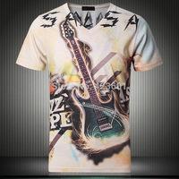 Newest style Summer Short Sleeve men's t-shirts Double Side 3D Guitar Personalized Digital Print Slim V-neck Tshirt  M-XXL
