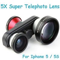 High Quality 4 in 1 Fish Eye Macro Self-timer Fisheye Macro Lens 5X Super Telephoto Camera Photo Lens Kit for iPhone 5 5S