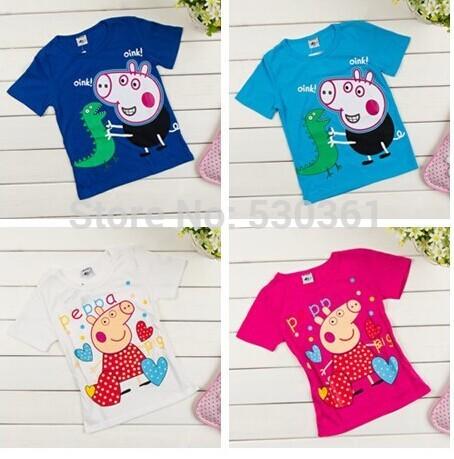 New 2014 Arrival Peppa Pig T-shirt White Pink Children T shirt Girls Clothes Boy Tees 100% Cotton(China (Mainland))