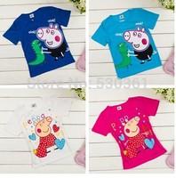 New 2015 Arrival Peppa Pig T-shirt White Pink Children T shirt Girls Clothes Boy Tees 100% Cotton