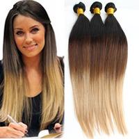 Ombre Brazilian Virgin Hair Gaga Hair Straight Extensions Three Tone 1B/#4/#27 3PCS Cara Hair Products Human Hair Weaves 5A